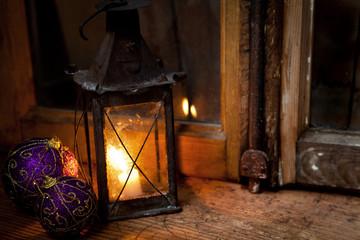 lanterna con decori natalizi