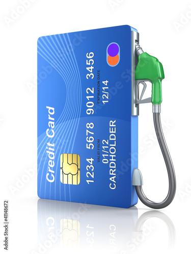 Leinwandbild Motiv Credit card with gas nozzle