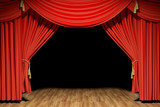 Red stage theater velvet drapes
