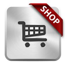 metallisches piktogramm für einen onlineshop mit roter schleife