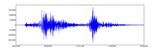 A blue seismogram of an earthquake, white background