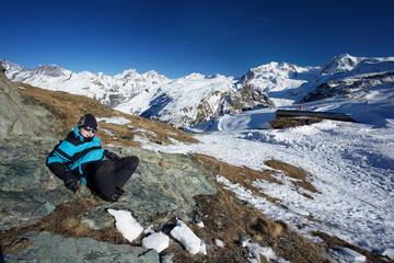 Junge in Bergen- Schwarzsee Matterhorn