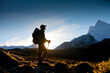 canvas print picture - Hiker in Himalaya mountains