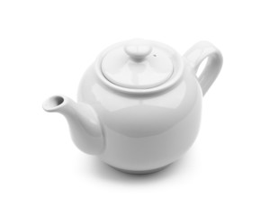 Light gray teapot isolated on white background