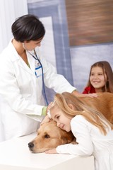 Little girls and pet at veterinarian