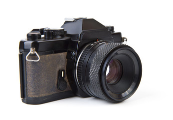 Old film camera with lens