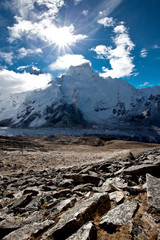 View at Everest and Nuptse mountains acress Khumbu valley
