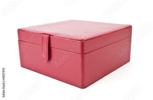 Leather red case for cosmetic