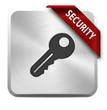 metallischer Button mit roter schleife security