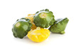 Green and Yellow Pattypan Squashes Isolated