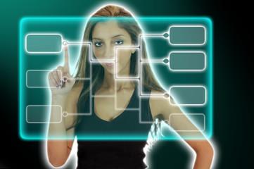 Junge Frau Wählt ein virtuelles Menü aus