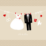 "Hanging Wedding Couple & Symbols ""Mr. & Mrs."" Beige Dots"