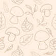 Cute unique background with mushrooms and leaves