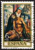 Postage stamp Spain 1970 Pieta, painting by Luis de Morales poster