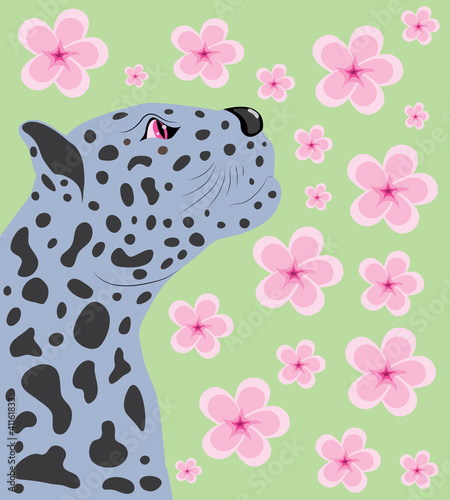 Panther and Oriental cherry