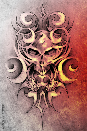 Sketch of tattoo art, monster design with tribal illustrations
