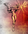 Sketch of tattoo art, fairy angel, nude woman