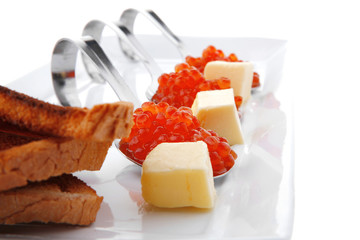 red caviar on white