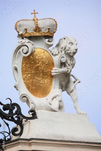 Lion sculpture in Belvedere park in Vienna