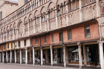 Shops at the side of the Cathedral in Ferrara Italy