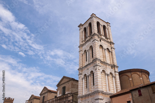 Belltower of the cathedral in Ferrera Italy