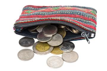 The older thai-stye coins bag.