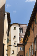 Narrow Street in the beautiful city of Bologna Italy