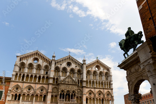 Facade of the duomo or cathedral in Ferrara Italy