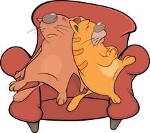 Koty na kanapie. Rysunek