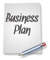"Paper & Pencil Illustration ""Business Plan"""