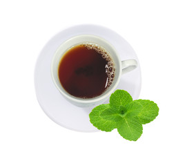 cup of tea with mint leaves isolated on white
