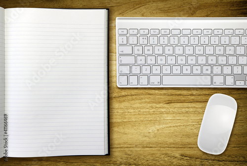 keyboard and notebook