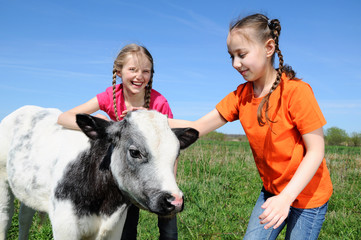 Two little girls petting a beautiful calf
