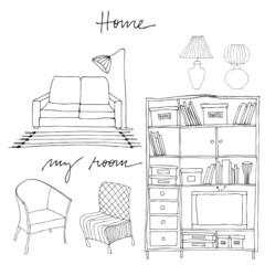 set of illustrated interior elements | bookshelf, sofa, lamp