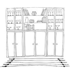 illustration of interior, bookshelf