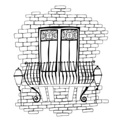 illustration of old brick wall with balcony