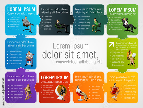 Colorful template for advertising with business people on chair