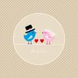 Birds Holding 2 Hearts Mr. & Mrs. Beige Dots Background