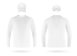 Template set: white long sleeve blank t-shirt and a cap