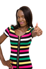 Confident smiling young lady making thumbs up