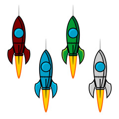 Space rocket set with different colors over white