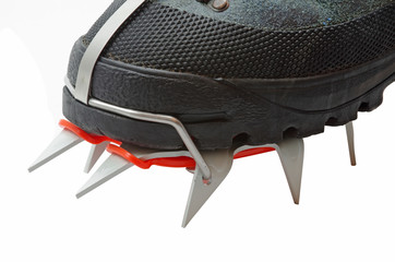 Trekking boot with crampons