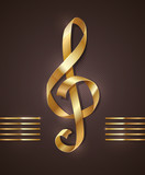 Fototapety Golden ribbon in the shape of treble clef