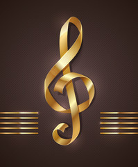 Golden ribbon in the shape of treble clef