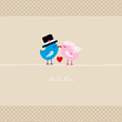Birds Holding 1 Heart Mr. & Mrs. Beige Dots