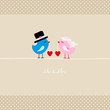 Birds Holding 2 Hearts Mr. & Mrs. Beige Dots