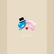 Birds Flying Holding 1 Heart Mr. & Mrs. Beige Dots