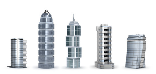 Modern skyscrapers isolated on white
