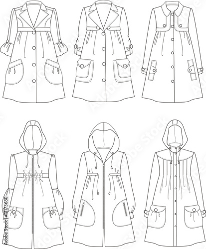Vector illustrations of raincoats