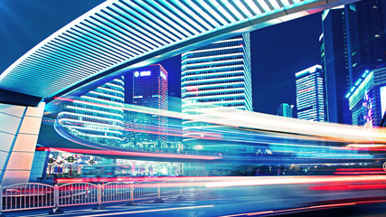 light trails of city traffic in shanghai, china